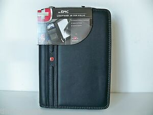 Wenger-Black-Top-Grain-Leather-Mobile-Cell-Phone-Zippered-Portfolio-Pad-Case