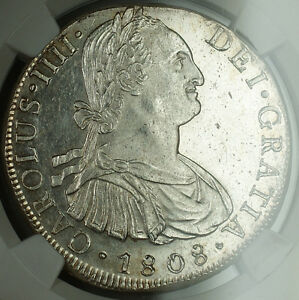 1808-Lima-JP-Peru-Silver-8-Reales-Coin-NGC-UNC-Details-Charles-IV-BN