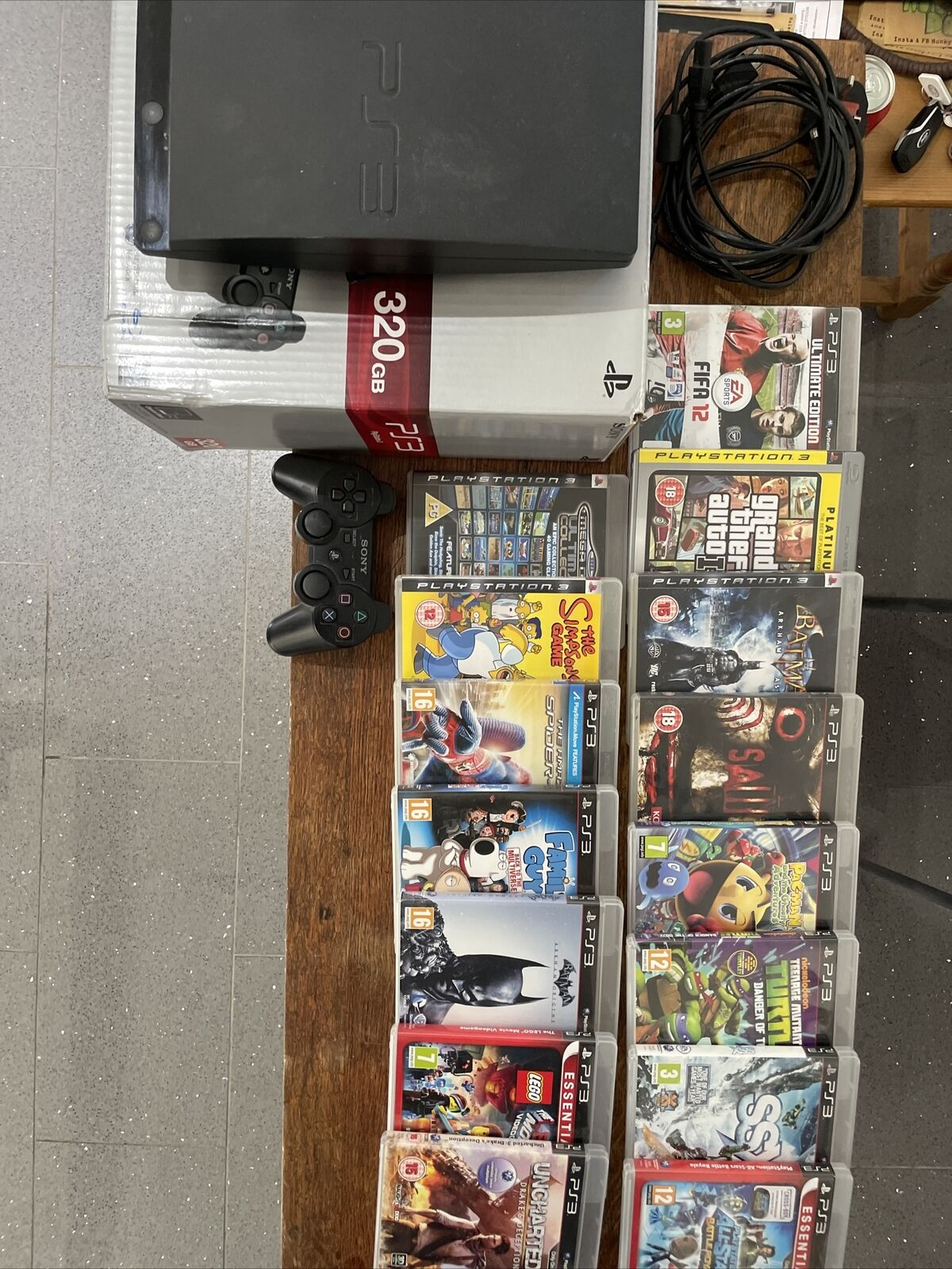 Playstation 3 320GB Console and 15 X Games Box and Leads Good Working Condition