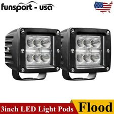 2pcs 3 24w Led Pods Light Bar Flood Off Road For Jeep Truck Atv Suv Driving