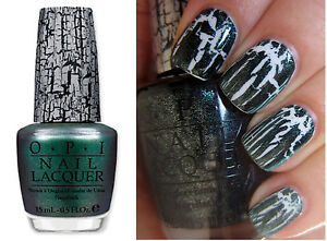 Opi Nail Lacquer Polish Varnish 15ml Green Shatter Crackle Nail Art