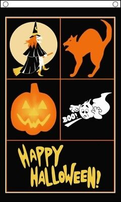 HAPPY HALLOWEEN BANNER FLAG 5/' x 3/' Witch Pumpkin Cat Ghost TO CLEAR **