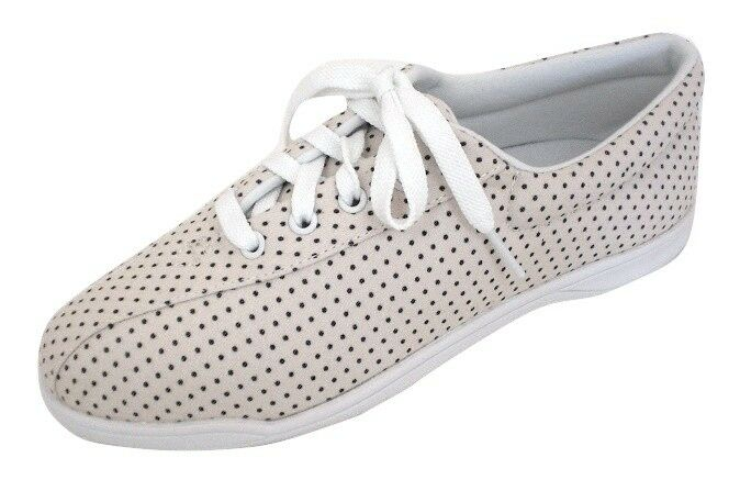 Easy Spirit AP1 athletic shoes sneakers canvas tan white polka dot 9.5 Med NEW