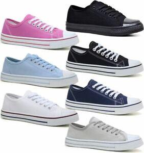 Ladies Womens Canvas Shoes Plimsolls