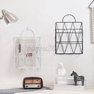US Post Storage Rack Magazine Newspaper Wall Mount Organizer Basket Metal Modern