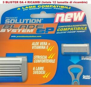 GILLETTE-FUSION-POWER-LAMETTE-COMPATIBILI-12-RICAMBI
