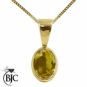 BJC-9ct-Oro-Amarillo-Natural-Oval-Colgante-Solitario-gota-Citrino-Y-Collar