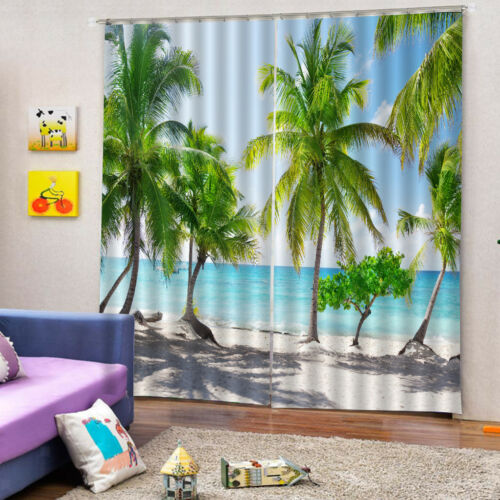 3D Photo Print Window Curtains Kids Room Coconut Tree Picture Artwork 2Panel