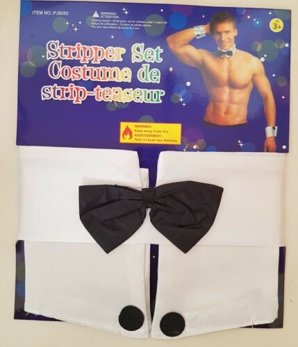 Male Stripper Waiter Butler 3pc Set Bow Tie Collar and Cuffs Fancy Dress New