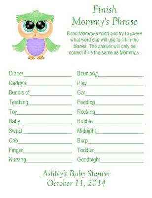 24 Personalized FINISH MOMMY'S PHRASE Baby Shower Game