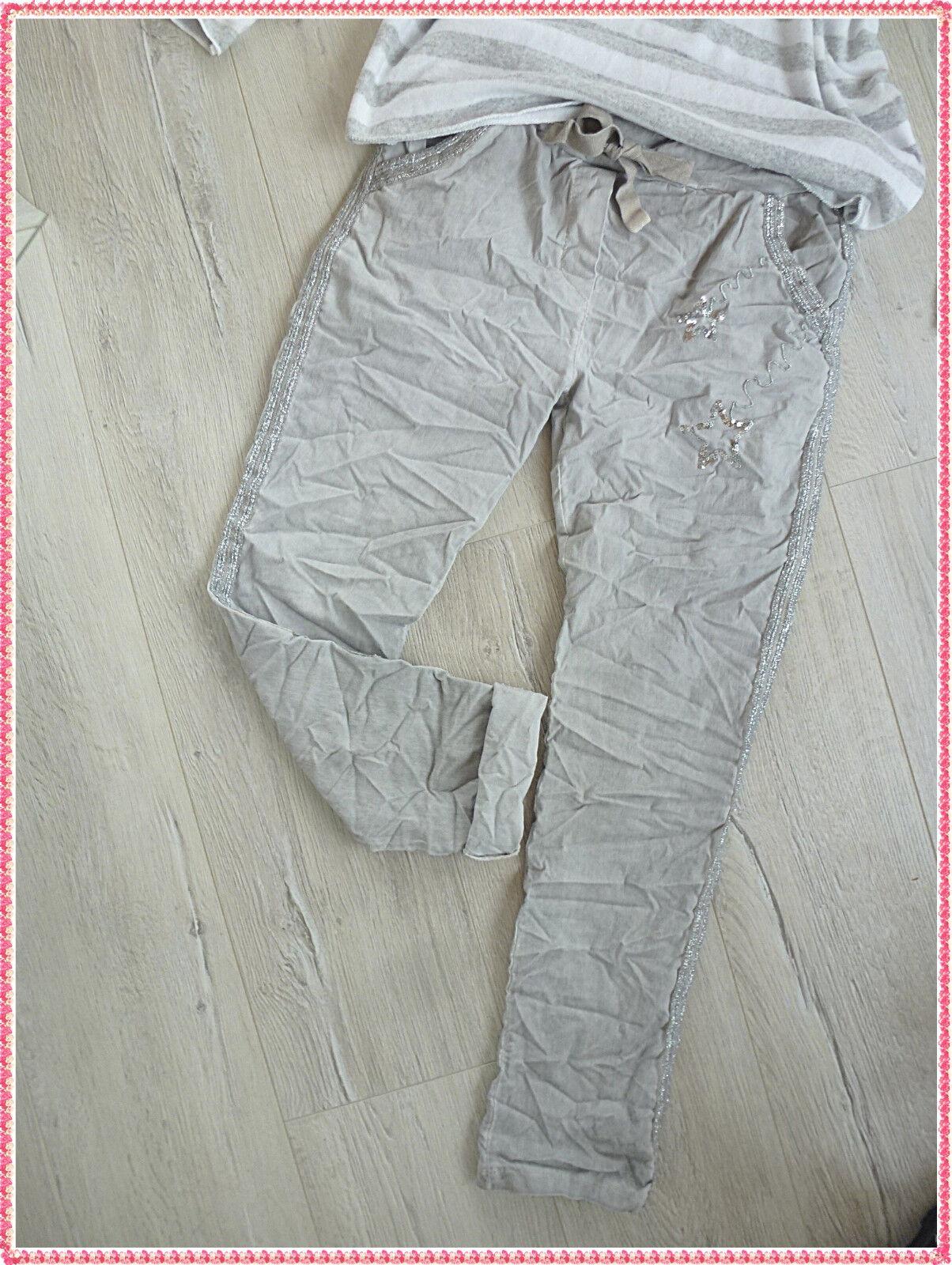 36 38 38 38 40 Hose Jogpant baggy Silber Streifen Pailletten Sterne grau