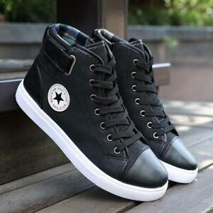 Fashion-Men-High-Top-Flats-Lace-Up-Board-Shoes-Casual-Sneakers-Trainers-Boots-Q