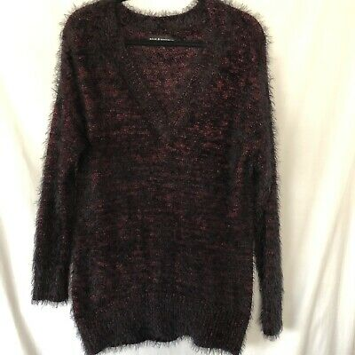 NWT NEW womens size S red black metallic ROCK /& REPUBLIC furry tunic sweater