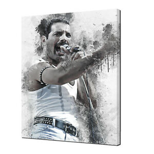 QUEEN ICONIC FREDDIE MERCURY MUSIC PAINT STYLE CANVAS WALL ART PRINT PICTURE