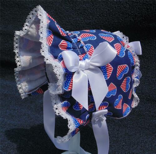 New Handmade Patriotic Red White and Blue Baby Sun Bonnet