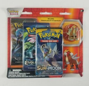 Pokemon-Pin-Collection-3-Pack-Pin-Booster-Entei-New-XY-Evolutions-Sun-amp-Moon