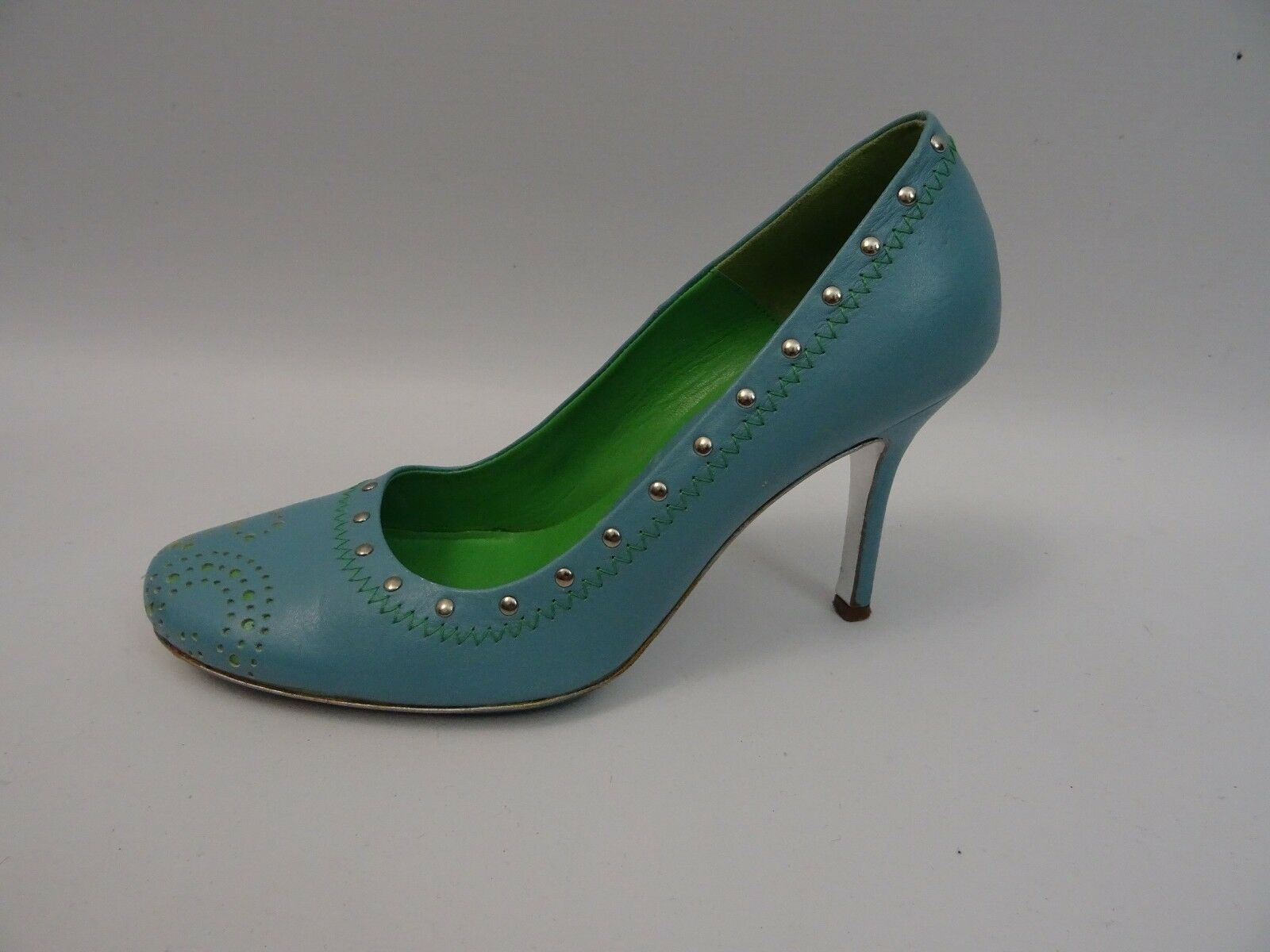 Dolce&Gabbana Damen Schuhe Pumps Hellblau - High Grün Gr. 38 Leder High - Heels Shoes 4cb02c
