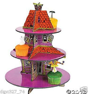 HALLOWEEN Decoration Party HAUNTED HOUSE CUPCAKE Holder STAND Centerpiece