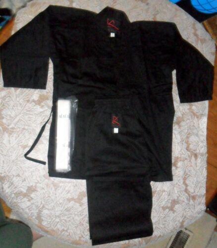 NIP KD Elite Black Student Karate Uniform 6.5 oz Sz 000//120 w//Belt New Free Ship