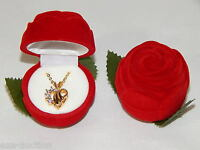 Valentines /14k Gold Plated W. Rhinestone Heart Necklace In Red Flower Gift Box