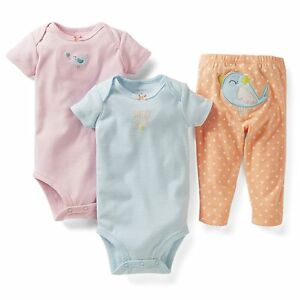 f36c69359 Details about NEW NWT Girls Carters 18 Months 3 Piece Set Bird Sweet Girl  Bodysuits Pants