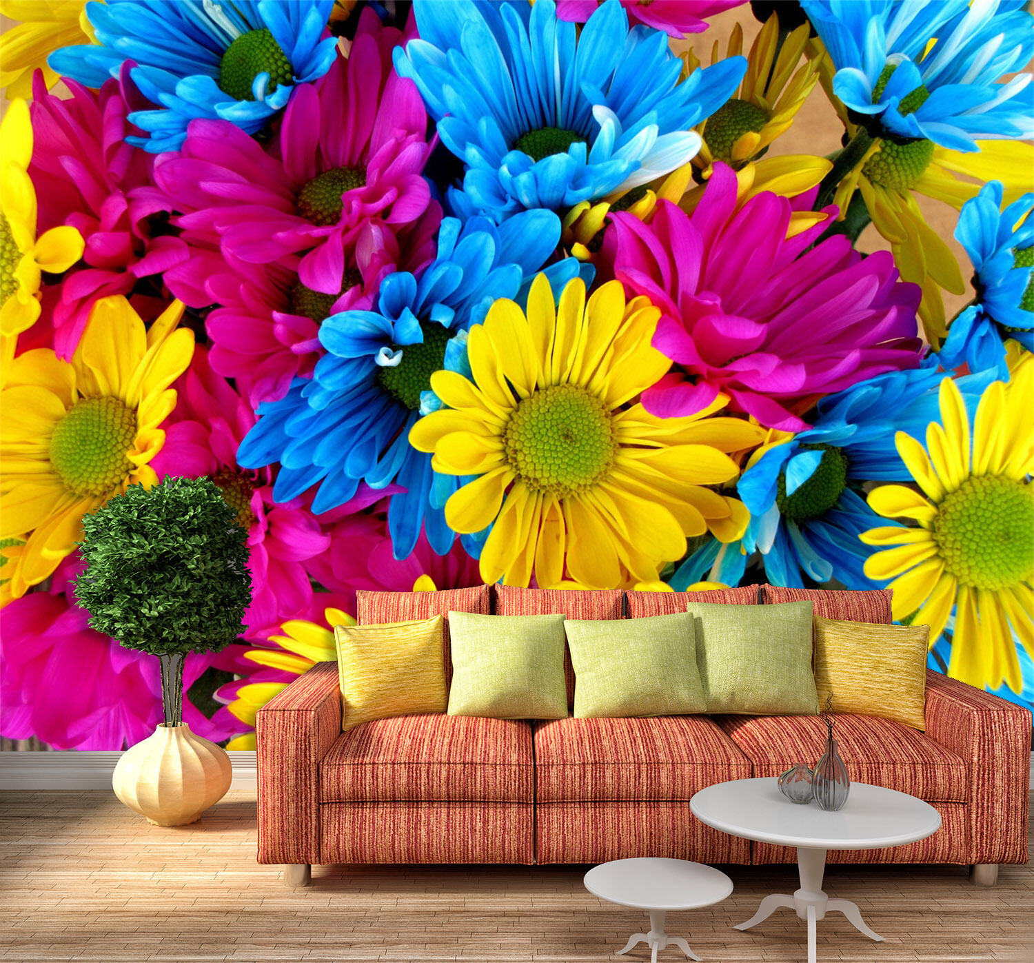 3D Bright colord Flowers 17 Paper Wall Print Wall Decal Wall Deco Indoor Murals