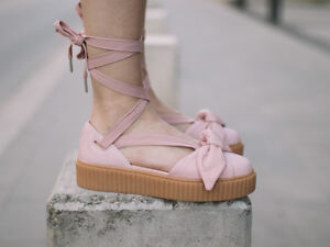 purchase cheap 2dfb1 2e13b Details about Fenty Puma By Rihanna Bow Creeper Sandal Silver Pink Women  Size 7.5US 38EU NWB