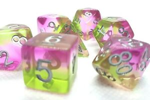 RPG Würfel Set Poly 7 teilig DND Rollenspiel w4-w20 dice4friends 3 Farben