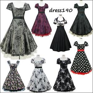 dress190-Cap-Sleeve-50s-60s-Rockabilly-Vintage-Swing-Party-Prom-Cocktail-Dress