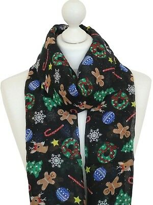gift novelty festive Black gingerbread candy cane Christmas Scarf Shawl