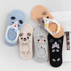 5 Pairs/lot Women Candy Color Small Animal Cartoon Pattern Boat Socks Summer Bre