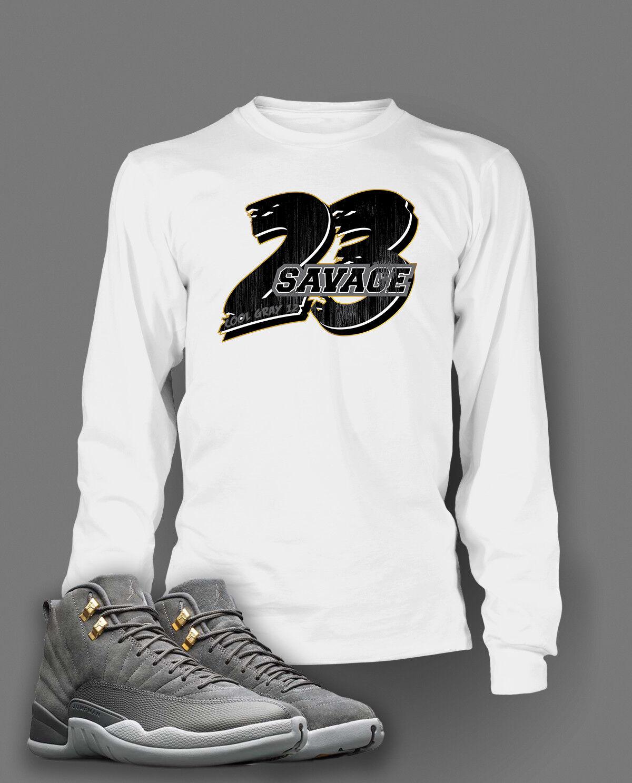 c90ba0b2226791 23 Savage T Shirt To match Jordan 12 Cool Grey shoes Men s Tee Shirt Graphic