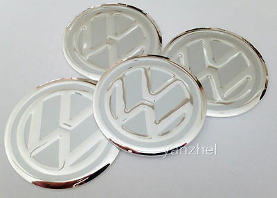 VW Wheel Center Caps Stickers Alu Decal Silver Emblem 60mm Set of 4pcs
