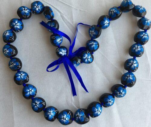 Kukui Nut Lei Hibiscus BLUE Flower Necklace Hawaiian Wedding Luau Graduation NEW