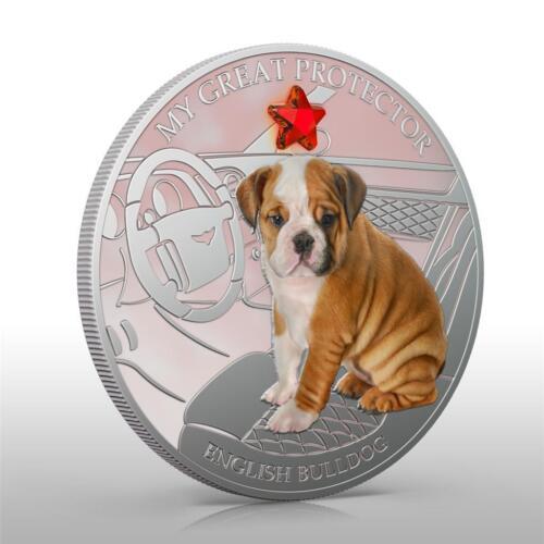 GEM 1Oz Silver NEW Fiji 2013 Dogs /& Cats 2 My Great Protector ENGLISH BULLDOG