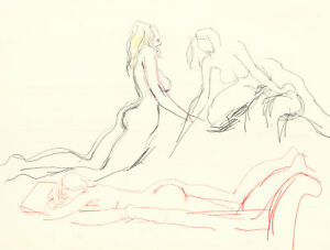 Peter Collins ARCA - c.1970s Graphite Drawing, Nudes in Red