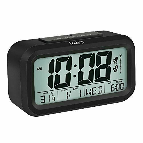 Peakeep Battery Digital Alarm Clock with 2 Alarms for Option