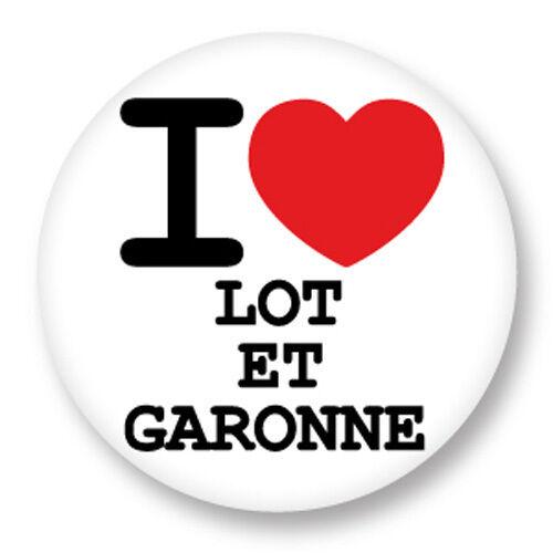 Magnet Aimant Frigo Ø38mm I Love Lot et Garonne 47 Département Région Aquitaine