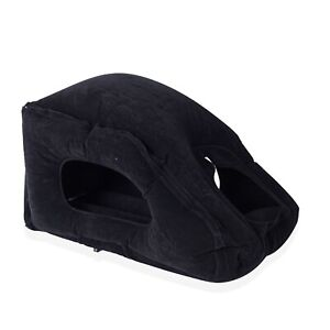 Home Black Inflatable Travel Throw Pillow Made of Eco-Friendly Flocking