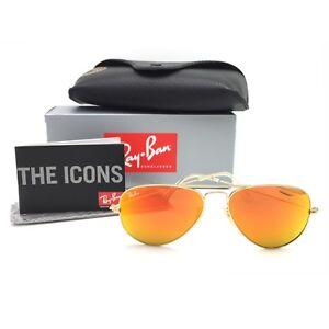 fab046c38dd New Ray-Ban RB3025 112 69 Gold Aviator Sunglasses w  Mirrored Orange ...