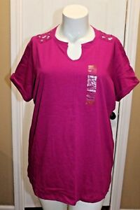 Northcrest-Women-039-s-Purple-Berry-Knit-Top-T-Casual-Shirt-Lace-Back-Cuffed-Size-3X