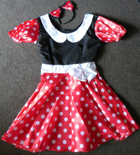 NEW ADULTS MINNIE MOUSE COSTUME FANCY DRESS WITH FREE EARS LADIES SIZE SMALL