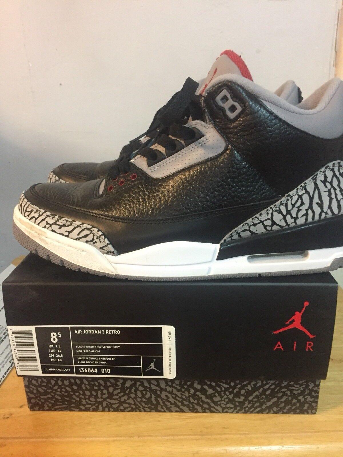 Nike Air Jordan 3 Negro Cement 8.5 III temporada 2018 SZ 8.5 Cement despacho venta ab3154