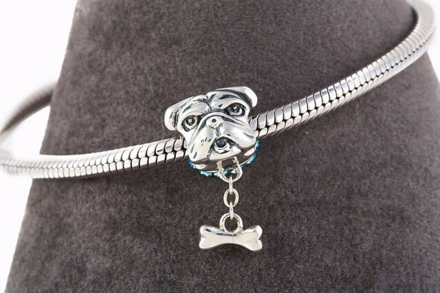 English Bulldog Charm, Silver Delicate Jewellery, Animal Charms for Bracelet