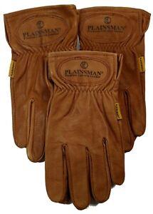 Plainsman-Premium-Goatskin-Cabretta-Brown-Leather-Gloves-3-Pairs-Sm-XL-NEW