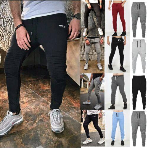 Hutch Designer Mens Slim Fit Zip Bottoms Joggers Sweat Pants Jogging Gym Trouser