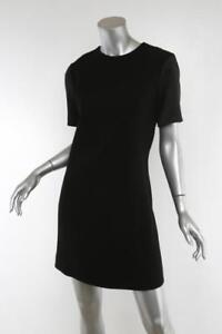 19838edaf1 Celine Femmes Classique Noir Manches Courtes Robe Droite 10-42 Neuf ...