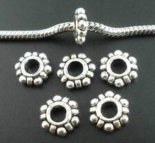 30Pcs Silver Tone Daisy Spacer European Beads Fit Snake Chain Charms Bracelets