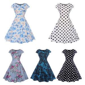 24738e7de083 Women's Vintage 1950s Polka Dot Rockabilly Evening Ball Gown Prom ...