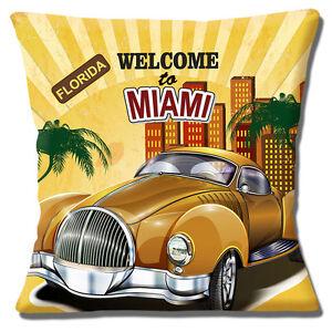 Bienvenido-a-Miami-Funda-de-cojin-40-6x40-6cm-40cm-FLORIDA-Vintage-Retro-Coche